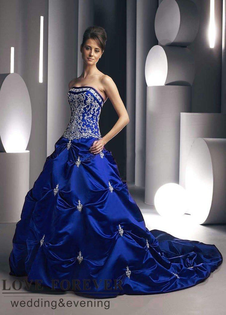 Hot Design Best Satin Colored Royal Blue or Red Wedding Dresses