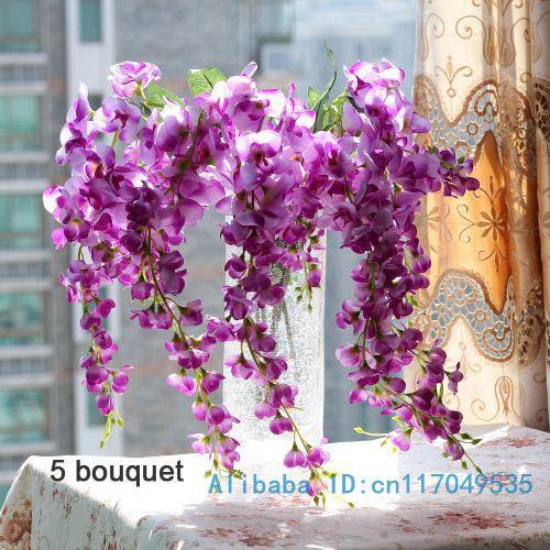 1PCS זר מלאכותי ויסטריה פרח משי בבית המפלגה קישוט 3 צבעים זמינים F107
