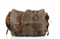 Маленькая сумочка Vintage Army Canvas Cow Leather Shoulder Bags Messenger Bag School Bag SKY421