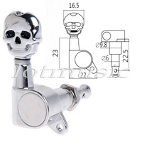 Wholesale 12sets/lot Chrome 6L SKULL Sealed-Gear Tuning Pegs Machine Head for Guitar