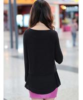 большой размер женщин o шея потерять долго t рубашка рукавом плюс размер женщин шифон пэчворк блузка толстые женщины 4xl черный