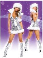 Женский эротический костюм 2012 New Sexy Halloween Christmas Costume Holiday Romper Lingerie Costume Santas Dress Holiday Clothes5098