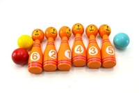 3 sets/lot Cute Wooden Animal Style Bowling Toy 3 Designs kids balls Game Baby Intellectual Toys Children Free Shipping
