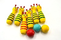 Детский шар 3 sets/lot Cute Wooden Animal Style Bowling Toy 3 Designs kids balls Game Baby Intellectual Toys Children