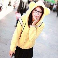 Женские толстовки и Кофты 1 Piece, Korea Women Loose Bear Ears Sweatshirt, Fleece Hooded Sweatshirt Plus Size, 2 Colors, Size, FWO10072