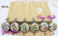 Карманные часы на цепочке Dear Bear Birdcage 001 , Dia 2.9.cm . 12pcs/lot, WN11026