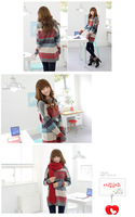 free shipping new fashion sweet cute stripe plus size loose batwing sleeve o-neck sweater knitwear pullovers