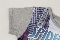 Потребительские товары Children's summer suit spider-man short T-shirt plus pants in leg opening rib cartoon print color grey in stock ZJP136