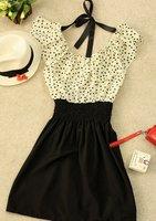 без пояса женские летние новой моды шифон точек полька талии мини-платье, платья женщин
