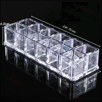 Дисплей для ювелирных изделий New Clear Square Cosmetic Organizer Makeup Drawers 12 Grids Lipstick Display Rack Cabinet Case Holder