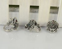 Кольцо Fashion jewelry Lot 10 pcs Vintage Look Silver Plated Mixed Color Crystal Frog Retro Rings R178
