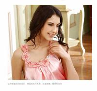 Женские ночные сорочки и Рубашки The pink rose flower night skirt sexy emulation silk pajamas for women braces nightgown female temptation