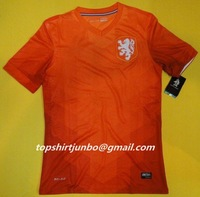 Мужская футболка для футбола The Global shipp The 2014 World Cup the Netherlands home LEAK Holland jersey Top thai quality jersey Football suit