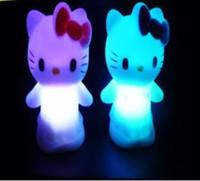 Детское электронное домашнее животное ship Colorful crystal led colorful small night kt cat night light Toy birthday gift doll toys