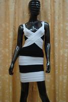 Платье знаменитостей Brand Design, Black And White cross Bandage Dress Celebrity Dresses Sexy Cocktail Dresses Short Prom Dresses