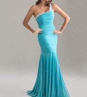 Вечернее платье One Shoulder Fishtail Bead Long Dress Wedding Party Prom Ball Formal Gown LF085