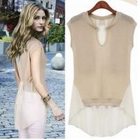 Новая мода лето короткий рукав o шеи шифон пэчворк Топ женский средне долгосрочной рубашка блузка в наличии