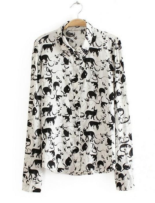 Купить Блузку С Принтом Кошек