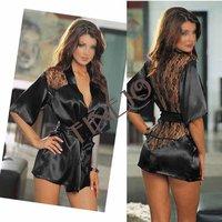Сексуальная ночная сорочка Fashion Black Satin Black Sexy Lingerie Costume Pajamas underwear Sleepwear Robe and G-String shopping 2016