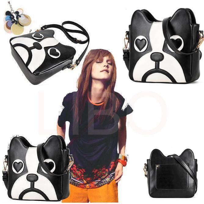Women Fashion PU Leather Cute Cartoon pattern dog ...