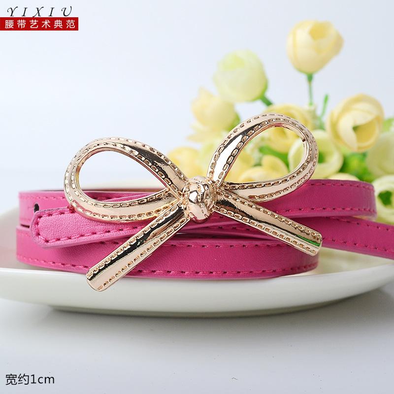 Korean bow thin belt PU belt wild temperament simp...