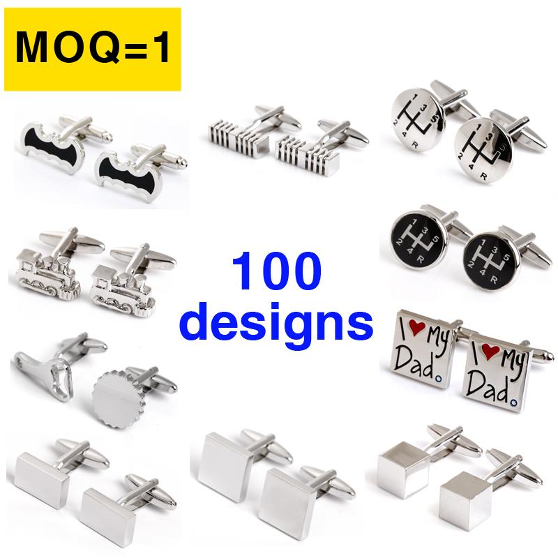 Mix order MOQ=1 Metal Cufflinks for men Stainless...