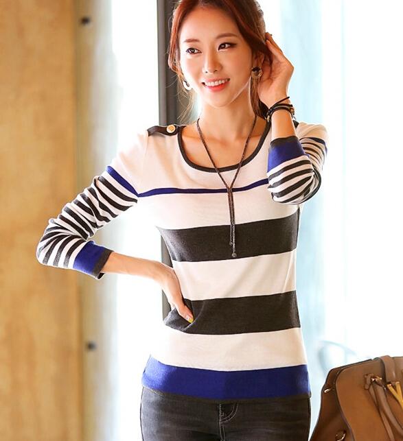 Women Sweater Autumn Long Sleeve Stripe Knitted Sw...