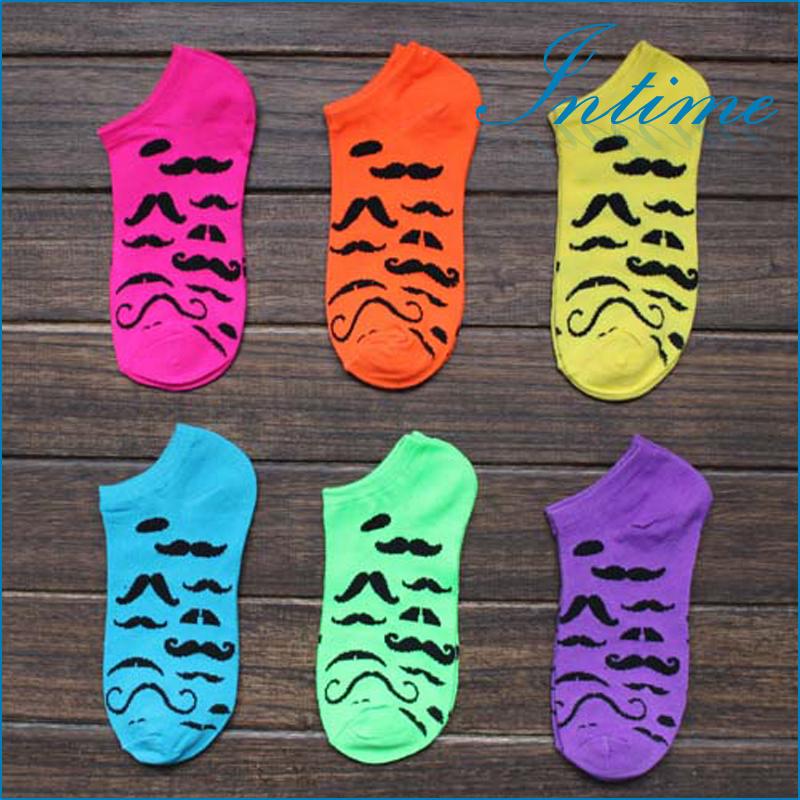 6prs/lot Colorful moustache women socks Candy colo...