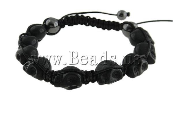 Браслет из бисера Valentine's Day Gift! Wax Cord With Skull Turquoise Beads & Hematite Beads Fashion Turquoise Shamballa Bracelet