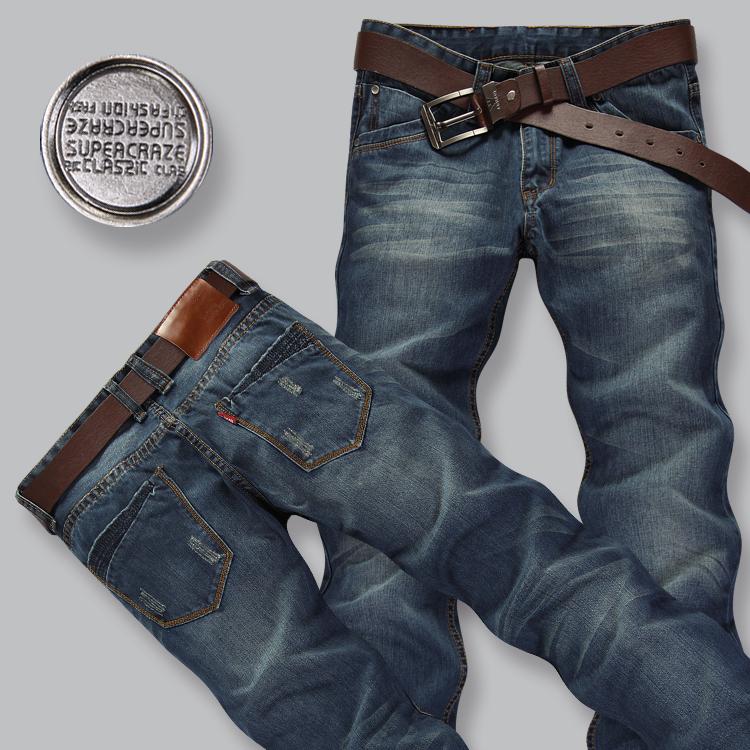 Летние джинсы мужские хлопок, новый бренд классический деним, Мужские брюки светло-синего цвета, длинные брюки для мужчин