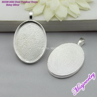 Free Shipping  DIY Jewelry Set 100pcs/lot Shiny Silver 22x30mm Oval  Blank Pendant Trays jewelry findings