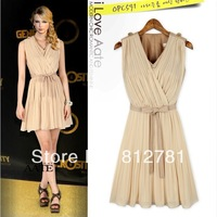 2014 trade Evening dress new summer women dress European and American fashion style stitching Pleated Dress