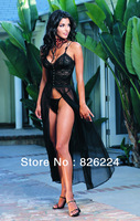 Hot sellling Black Sexy Lingerie hot Evening Long Feminine Gothic clothing Underwear Night  dressing Gown drop shipping