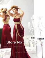 2014 New Arrival Sweetheart Satin Burgundy Prom Dress Runway Gold Embroidery Crystal Beaded Arabic Evening Dresses Long BO1742
