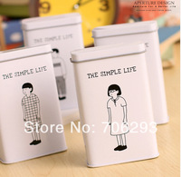 "2014 NEW Zakka vintage cardfile tin box  7X3X11cm""The samlpe life""style  tin box  Sundry  storage box cigarette case 2pcs/set"