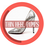 Thin heel pumps
