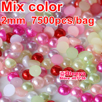 Plain Color Half Round Flatback Pearls , Mixed color 2mm   loose imitation ABS pearl beads for DIY Nail Art Phone