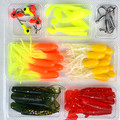 35 soft bait 10 lead head hook lure combination set freshwater fishing