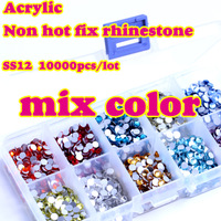 Mixed rhinestone10000pcs 3mm flat back acrylic Nail Art rhinestone 1000pcs/color Giving 10 case Rhinestone Storage Case Box