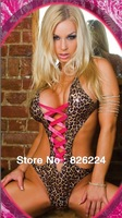 Leather Leopard Plus Sexy Jumpsuits Womens Pajamas Bandage Crop Top Fetish Dressing Gown Erotic Sexy Lingerie Hot Costume Q20