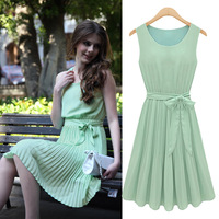 2014 summer new European style round neck sleeveless pleated chiffon dress S~XL