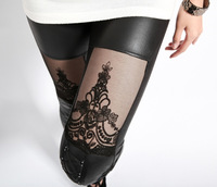 new 2013 punk leather stitching embroidery bundled hollow lace leggings pantyhose for women