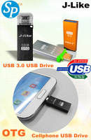 J-LIKE  full capacity  2 in 1 flash usb 3.0 drive OTG micro usb drive for android 4.0 8GB 16GB 32GB 64GB smart phone tablet pc