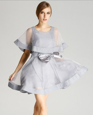 New-Arrive-2014-fashion-spring-and-summer-women-s-organza-bow-dress-vest-chiffon-one-piece