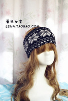 Beauty lady Black white Folwer Print wide cotton elastic hair band Head scarf Hijab turban stretch solid headbands for women