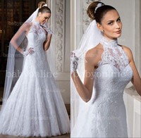 Free Shipping 2013 New Halter Neckline A line Lace wedding dresses with Buttons back LT23
