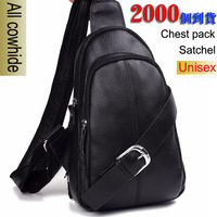 Finest leather  Cowhide chest package unisex  Messenger Bag  Shoulder Bag free shipping  Vogue of new fund of 2013