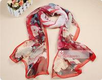 100% silk women chiffon scarf Fashion spring Flower beauty printed 165x52cm Long Beach scarves 2014 hot 5 colors LTF0005