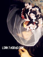 Fashion style beautyful fascinator with veil wedding hair Red flowers women dress fascinator cocktail hats clips