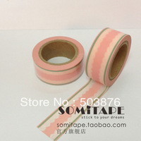 15mm*10m 1 rolls/lot pink and white mix color paper tape  sticker album